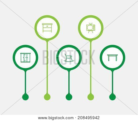 Collection Of Moving Chair, Table, Tv Set And Other Elements.  Set Of 5 Set Outline Icons Set.