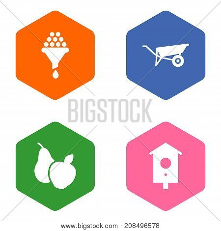 Collection Of Nesting Box, Fruit, Filter And Other Elements.  Set Of 4 Horticulture Icons Set.