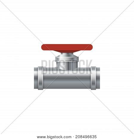 Details pipes. Details pipes with red valve. Plumbing valve. Vector Illustration.