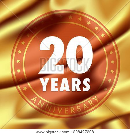 20 years anniversary vector icon logo. Template design element with golden medal in silk for 20th anniversary greeting card can be used as decoration element