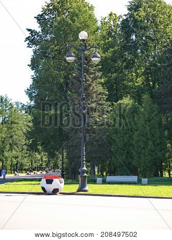 Flowerbed in a shape of the football ball nearby Zenit-Arena, Saint-Petersburg, summer 2017