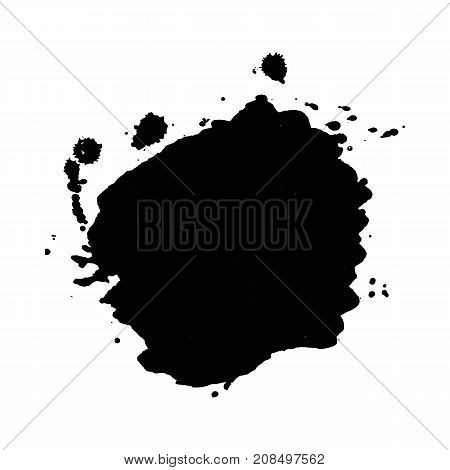 Abstract black ink blot background. Vector illustration. Grunge texture for cards and flyers design. A model for the creation of digital brushes