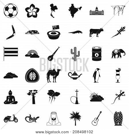 Exotic nature icons set. Simple style of 36 exotic nature vector icons for web isolated on white background