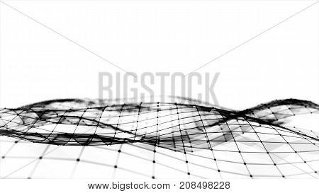 Abstract Polygonal Space Low Poly White Background With Connecting Dots And Lines. Connection Struct