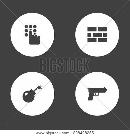 Collection Of Shot, Dynamite, Keypad And Other Elements.  Set Of 4 Safety Icons Set.