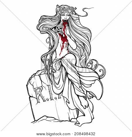 Dead bride. Zombie girl with a sewn up mouth, blood stained hands and dress sitting on a toumbstone. Black and white linear drawing isolated on a white background. EPS10 vector illustration