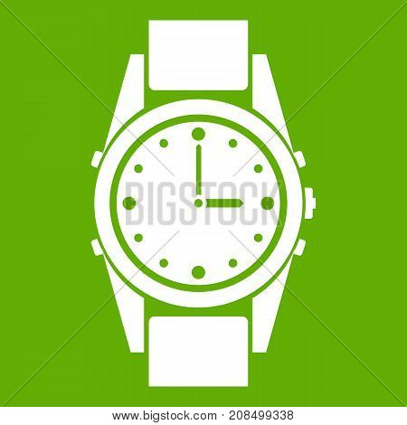 Swiss watch icon white isolated on green background. Vector illustration