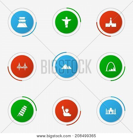 Collection Of Great Pyramid, Rio, Bridge And Other Elements.  Set Of 9 Landmarks Icons Set.