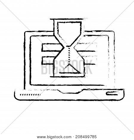 figure laptop technology searching with hourglass icon vector illustration