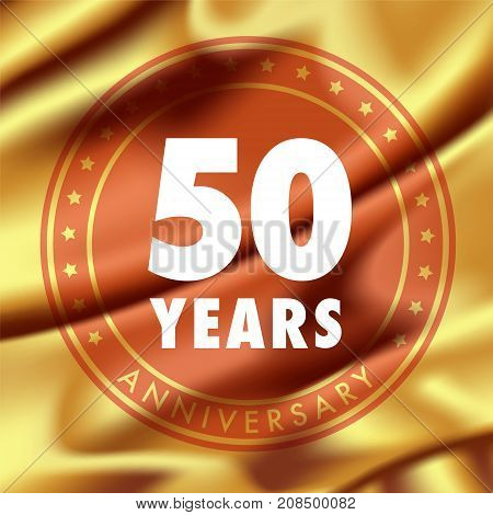 50 years anniversary vector icon logo. Template design element with golden medal in silk for 50th anniversary greeting card can be used as decoration element