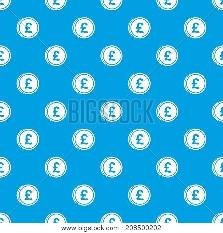 Coins of pound pattern repeat seamless in blue color for any design. Vector geometric illustration