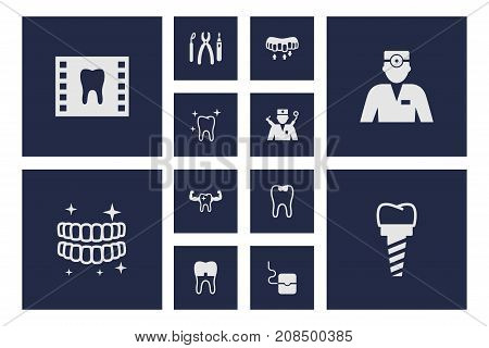 Collection Of Healthful, Dentist, Caries And Other Elements.  Set Of 12 Dentist Icons Set.