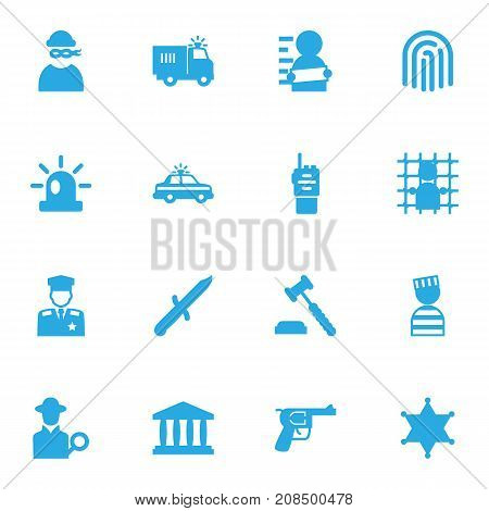 Collection Of Walkie-Talkie, Thumbprint, Suspicious And Other Elements.  Set Of 16 Crime Icons Set.
