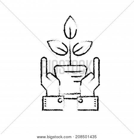 figure ecology plant with flowerpot and leaves with hands vector illustration
