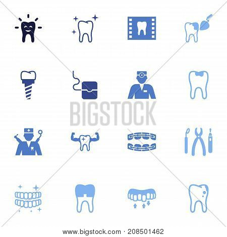 Collection Of Instruments, Roentgen, Healthful And Other Elements.  Set Of 16 Dental Icons Set.