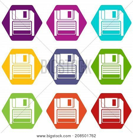 Magnetic diskette icon set many color hexahedron isolated on white vector illustration