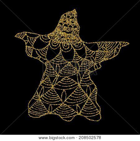 Gold cast of ghost on a black background. Halloween background