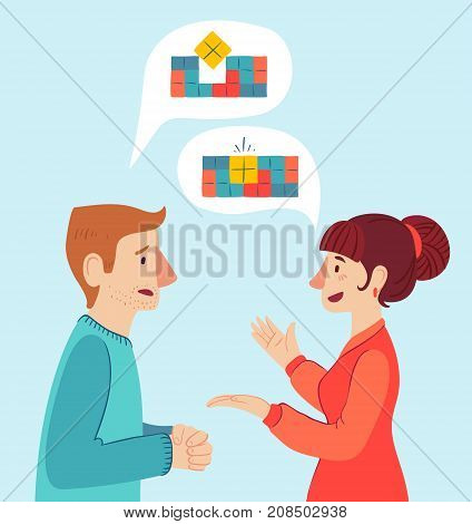 The psychologist and the client. Psychotherapy. Vector illustration. Man and woman talking to find the solution