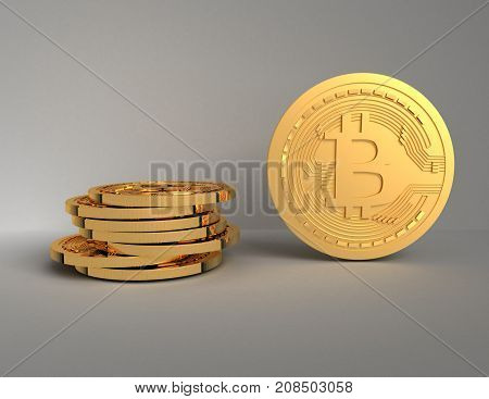 3d bitcoins concept . 3d rendered illustration