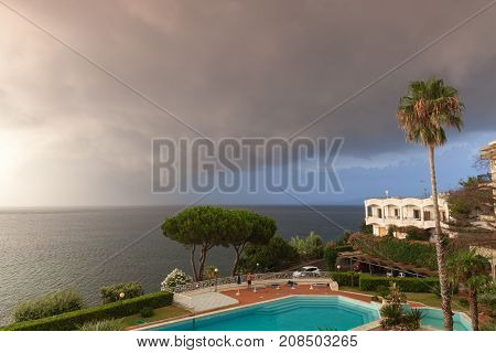 Swimming Pool And Living Houses. Ischia, Italy