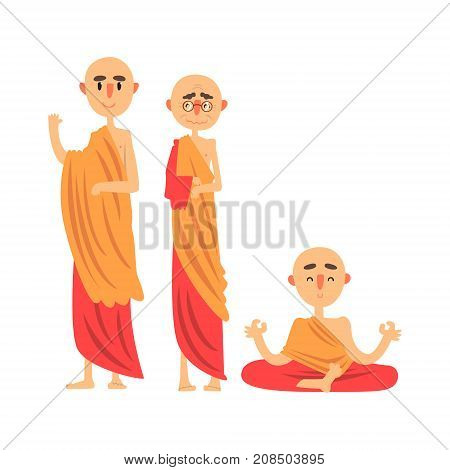 Three Buddhist monks in orange clothes and in different poses vector Illustration isolated on a white background