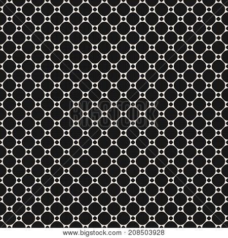 Circles vector seamless pattern. Abstract geometric texture with big and small dots. Simple monochrome dotted background. Universal repeat design for decoration, prints, fabric, textile, furniture.