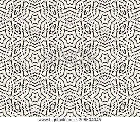 Delicate vector seamless pattern. Subtle ornament texture with linear geometric shapes, stars. Abstract monochrome ornamental background, repeat tiles. Oriental style design for decor, fabric, textile.