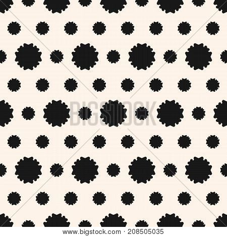 Simple vector floral pattern. Abstract geometric seamless texture with flower silhouettes. Vintage monochrome background, repeat tiles. Design for decoration, fabric, clothing, textile, linens, covers.