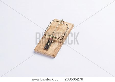 A mouse trap isolated on white background