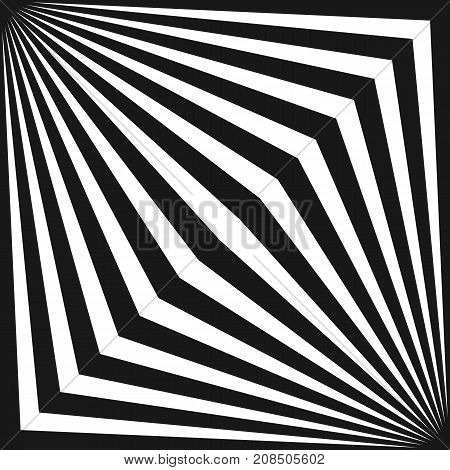 Vector tile pattern with black & white striped lines. Geometric texture with diagonal stripes in square shape. Optical illusion effect, pop art style. Abstract monochrome background. Trendy design. 3d pattern. Stripes pattern.