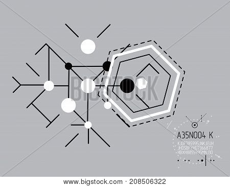 Engineering technology vector backdrop made with circles and lines. Technical drawing abstract background. Art graphic illustration.