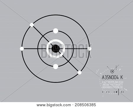 Mechanical scheme vector engineering drawing with circles and lines. Technical plan can be used in web design and as background. Art graphic illustration.