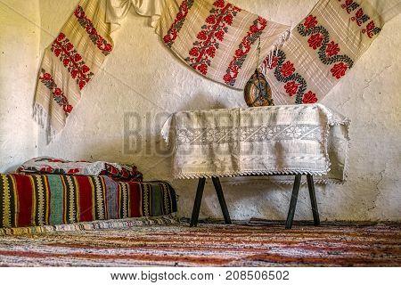 Traditional Romanian folk house interior with original decoration