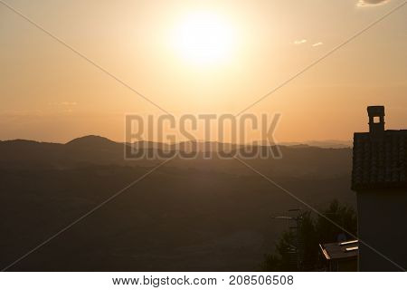 Sunset at San Leo (Forli Cesena Emilia Romagna Italy): the historic town at evening