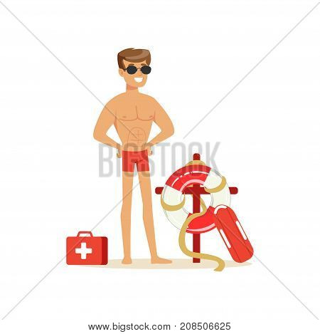 Male lifeguard in red shorts with equipment on the beach, professional rescuer on the beach vector Illustration isolated on a white background