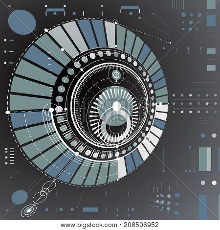 Dimensional abstract circular mechanical scheme 3d technological pattern. Vector industrial and engineering background.