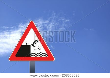 Road sign with British pound currency decline, concept illustration