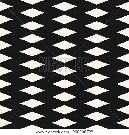 Rhombuses geometric texture. Simple geometric pattern with rhombic shapes. Abstract monochrome background, repeat tiles. Perforated surface illustration. Dark design for decoration, fabric, cloth. Diamonds pattern. Argile pattern. Geometric pattern.