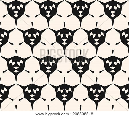 Abstract geometric seamless pattern with angular shapes, hexagonal grid. Modern geometrical monochrome texture, repeat background. Stylish design for tileable print, decoration, fabric, cloth, textile.