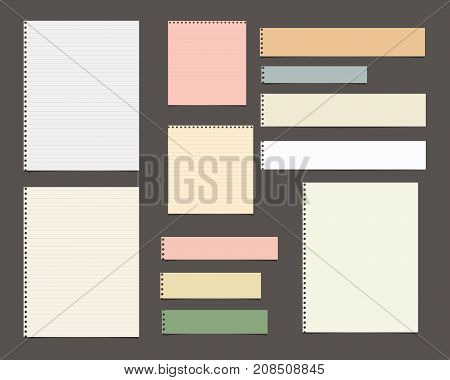 White and colorful striped paper, copybook, notebook sheets for note or message stuck on dark brown background