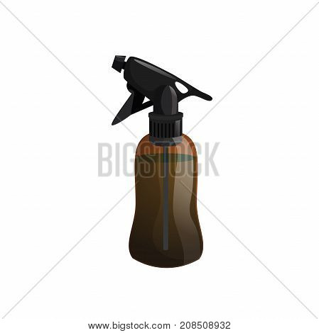 Cartoon trendy design hair styling equipment tool. Brown figure bottle with spray for hair moistening. Vector barber shop illustration icon.