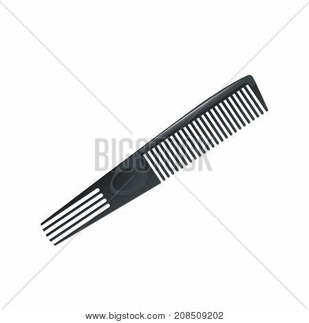 Cartoon trendy plastic black hair comb with special long teeth. Icon isolated on white background. Professional salon accessories vector illustration.