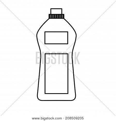 line bottle soap object to clean clothes vector illustration
