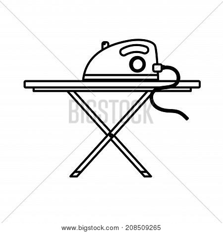 line iron electrical object and ironing board vector illustration