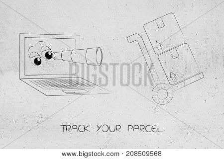 Laptop With Eyes And Monocle Staring At Parcels