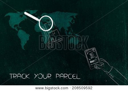 Parcel With Magnifying Glass Over World Map And Hand Holding Smartphone With Notification