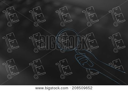 Group Of Parcels And Hand With Magnifying Glass Analyzing One Of Them