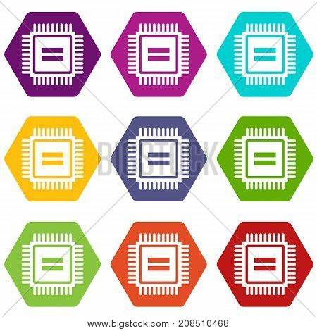 Electronic circuit board icon set many color hexahedron isolated on white vector illustration