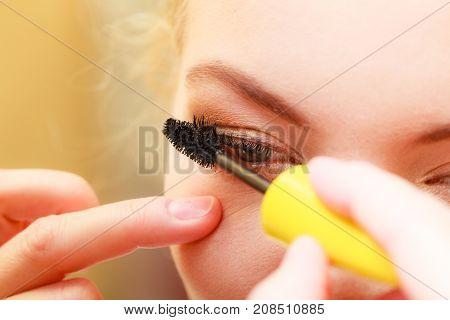 Close Up Woman Getting Make Up, Mascara
