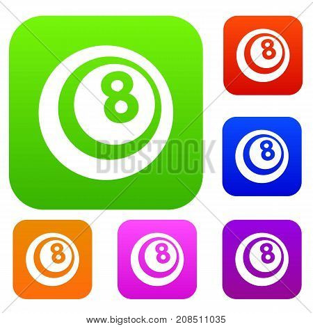 Black and white snooker eight pool set icon color in flat style isolated on white. Collection sings vector illustration